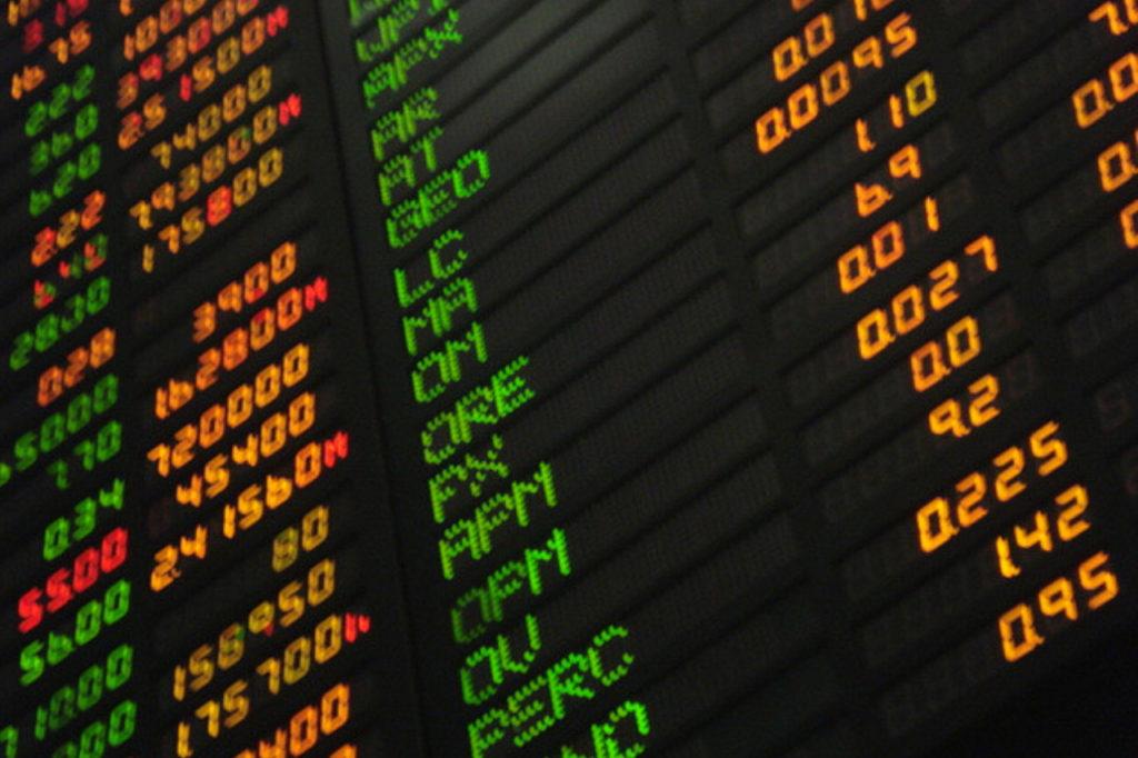 Stock market board.