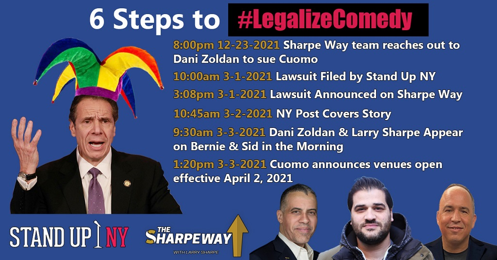 Meme that says 6 Steps to #LegalizeComedy